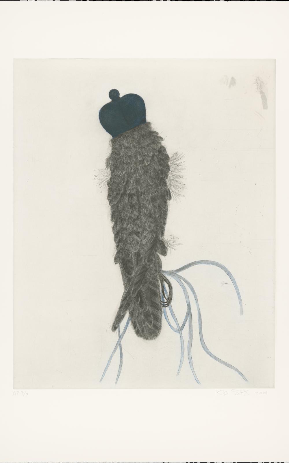 Kiki Smith, Falcon, 2001, Radierung und Aquatinta auf Hahnemühle Copperplate Bright White-Papier, 883 x 711 mm, Staatliche Graphische Sammlung München, Schenkung der Künstlerin © Kiki Smith, courtesy Pace Gallery