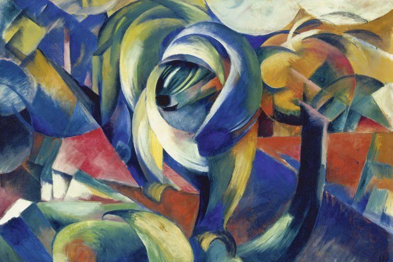 Franz Marc, Der Mandrill, 1913, Öl auf Leinwand, 91 x 131 cm , Schenkung von Sofie und Emanuel Fohn erworben