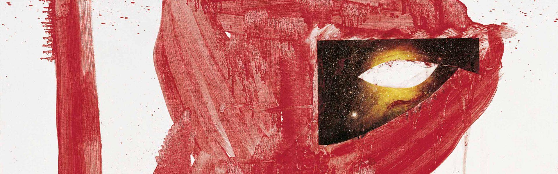 "Jonathan Meese JAPANISCHE TASCHE ""HERRMEESEL"", Öl und Mixed Media auf Leinwand, 210 x 140 x 2,4 cm, Photo: Jochen Littkemann © Jonathan Meese/VG Bild-Kunst, Bonn 2018"