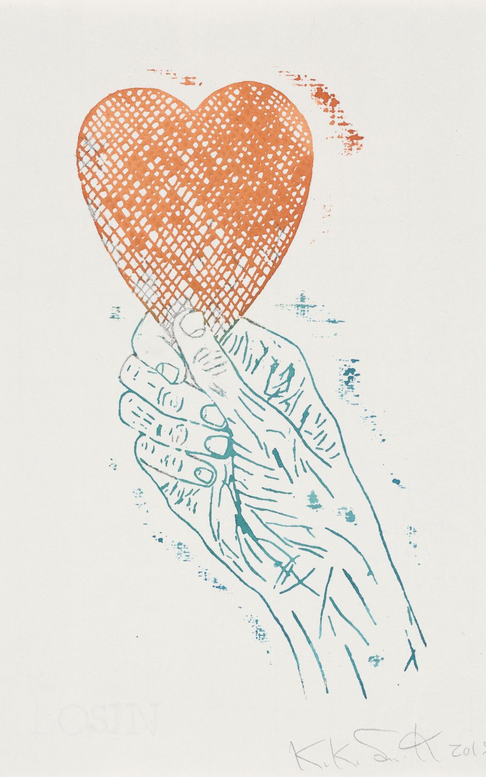Kiki Smith, Heart in Hand, 2015  Monoprint; Aquarell und Bleistift auf Losin Prague-Papier, 296 x 205 mm Staatliche Graphische Sammlung München, Schenkung der Künstlerin © Kiki Smith, courtesy Pace Gallery