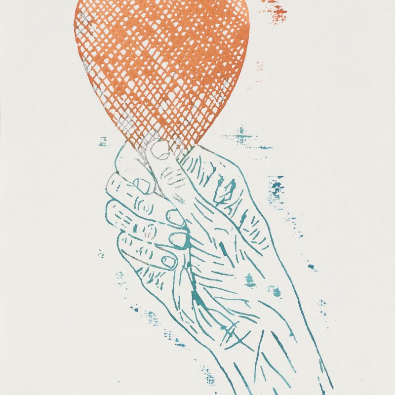 Kiki Smith, Heart in Hand, 2015, Monoprint; Aquarell und Bleistift auf Losin Prague-Papier, 296 x 205 mm, Staatliche Graphische Sammlung München, Schenkung der Künstlerin © Kiki Smith, courtesy Pace Gallery