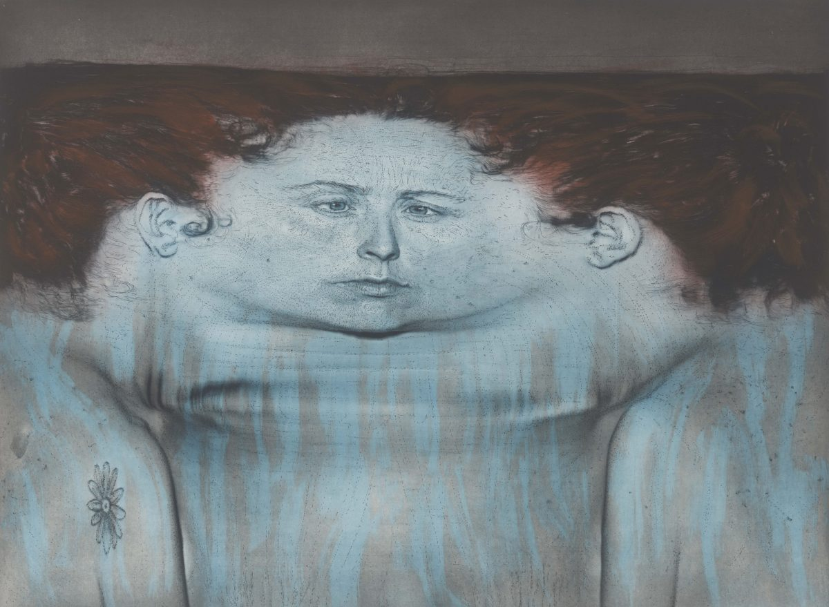 Kiki Smith, My Blue Lake, 1995 Photogravüre und Lithographie auf En Tout Cas-Papier, 1110 x 1391 mm Staatliche Graphische Sammlung München, Schenkung der Künstlerin © Kiki Smith, courtesy Pace Gallery