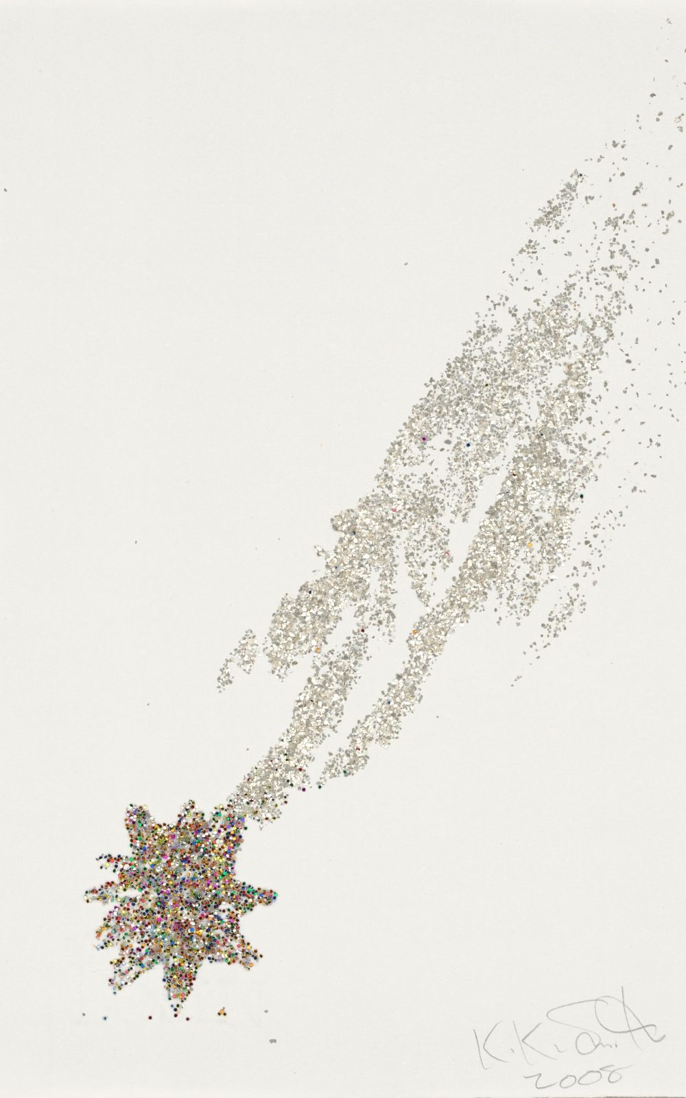 Kiki Smith, Shooting Star, 2008, Monoprint; Tinte und Glitter auf Losin Prague-Papier, 295 x 206 mm, Staatliche Graphische Sammlung München, Schenkung der Künstlerin © Kiki Smith, courtesy Pace Gallery