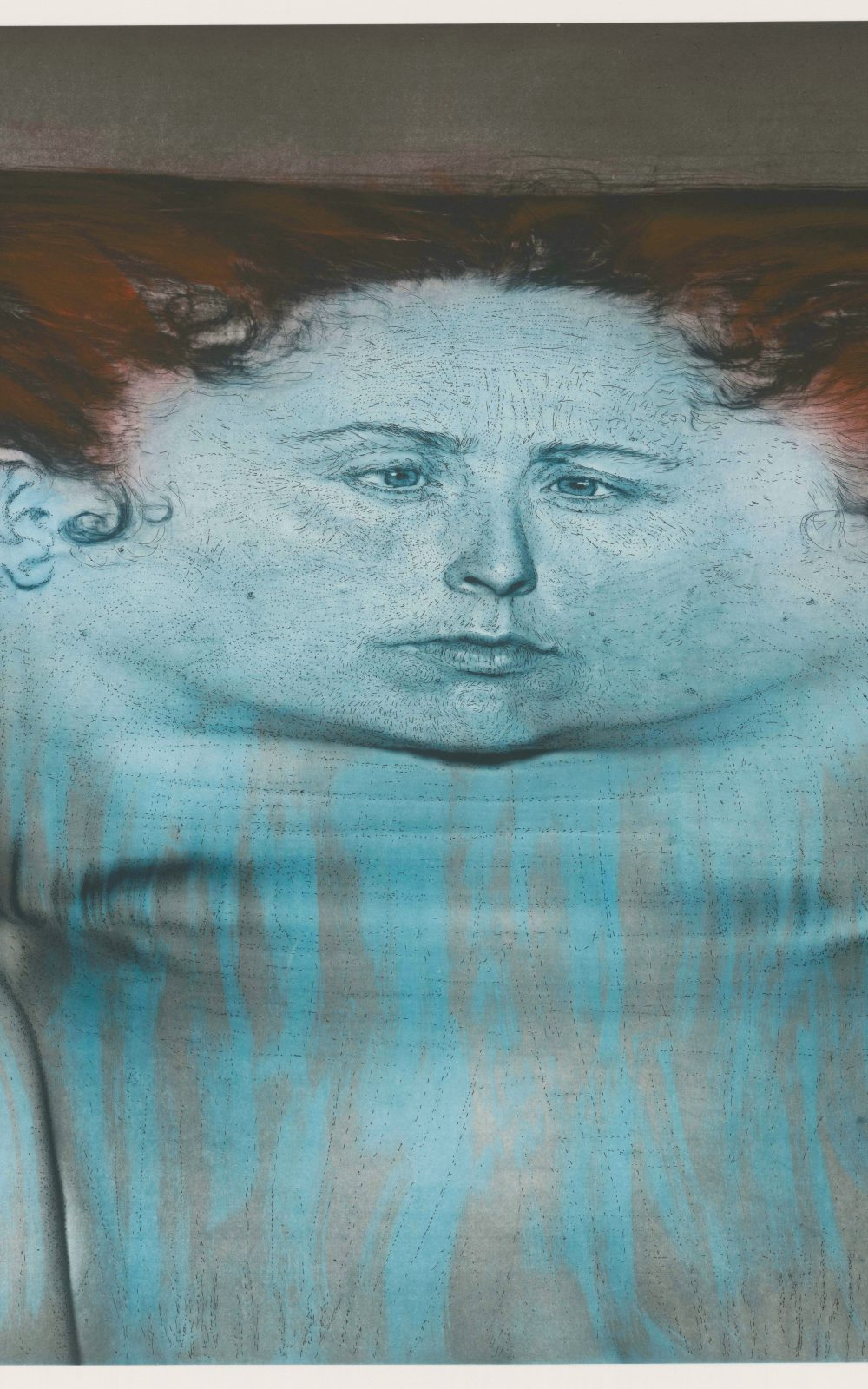 Kiki Smith, My Blue Lake, 1995, Photogravüre und Lithographie auf En Tout Cas-Papier, 1110 x 1391 mm, Staatliche Graphische Sammlung München, Schenkung der Künstlerin © Kiki Smith, courtesy Pace Gallery
