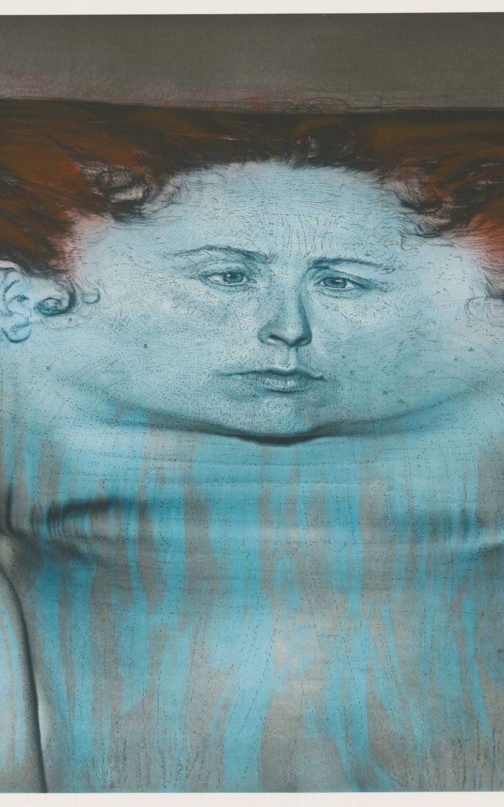 Kiki Smith, My Blue Lake, 1995, Photogravüre und Lithographie auf En Tout Cas-Papier, 1110 x 1391 mm, Staatliche Graphische Sammlung München, Schenkung der Künstlerin © Kiki Smith, courtesy Pace Gallery