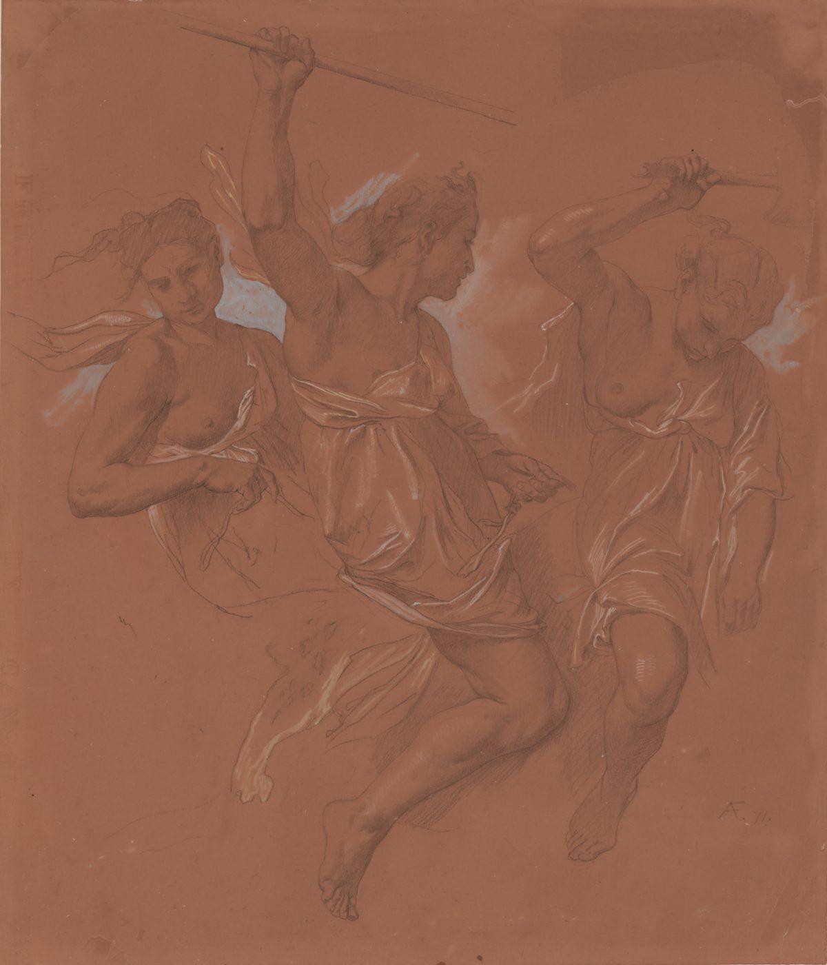 Anselm Feuerbach, Drei reitende Amazonen, 1871, Schwarze und farbige Kreiden, Deckfarbe in Hellblau, 504 x 432 mm Blattmaß © Staatliche Graphische Sammlung München