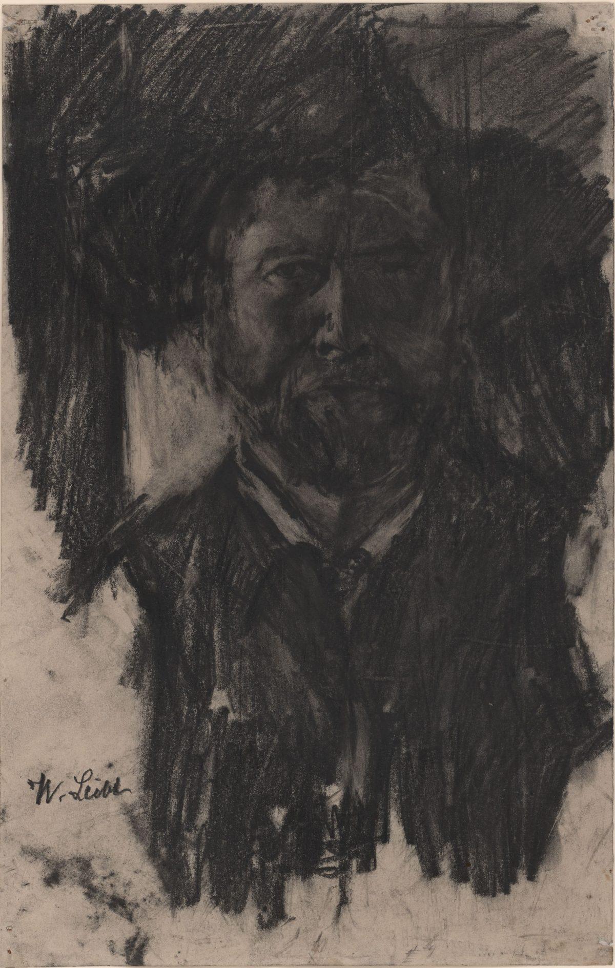 Wilhelm Leibl, Selbstbildnis, um 1895, Kohle, Bleistift, 330 x 210 mm Blattmaß © Staatliche Graphische Sammlung München