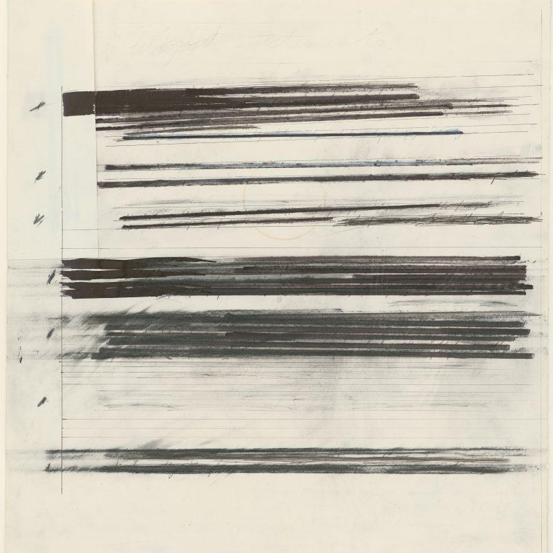 Michael Heizer, *1944, Untitled, um 1968, Tusche, Graphit und Kugelschreiber auf teilweise doubliertem und collagiertem weißen dünnen Karton, 497 x 478 mm, Inv.-Nr. WAF Slg. PF 57 © Staatliche Graphische Sammlung München