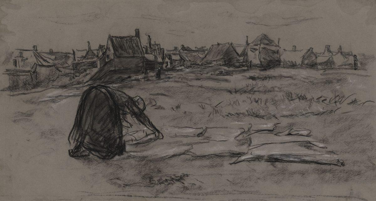 Max Liebermann, 1847 - 1935 35423 Z Die Bleiche, um 1889  Schwarze Kreide, weiß gehöht 268 x 493 mm Blattmaß © Staatliche Graphische Sammlung München