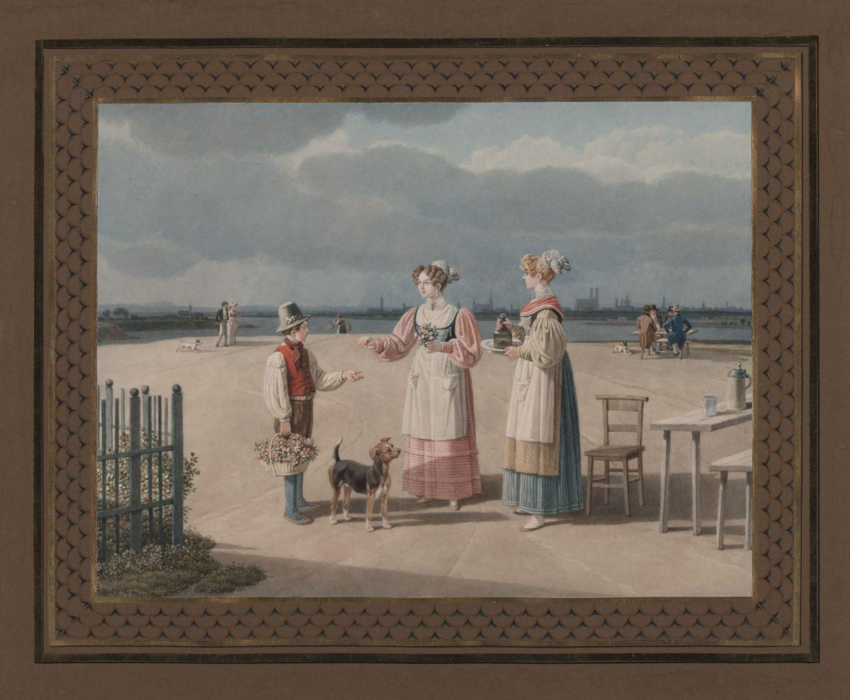 Wilhelm von Kobell, Terrasse bei Föhring, um 1827, Bleistift, Aquarell, 197 x 262 mm Blattmaß © Staatliche Graphische Sammlung München