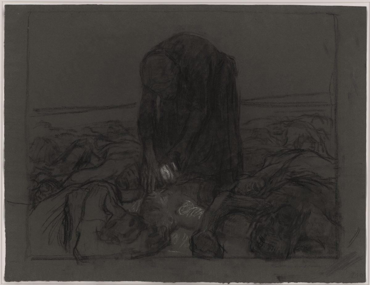 Käthe Kollwitz, 1867 – 1945, Schlachtfeld, 1907, Kohle und weiße Kreide auf grauem Papier, 456 x 595 mm © Staatliche Graphische Sammlung München