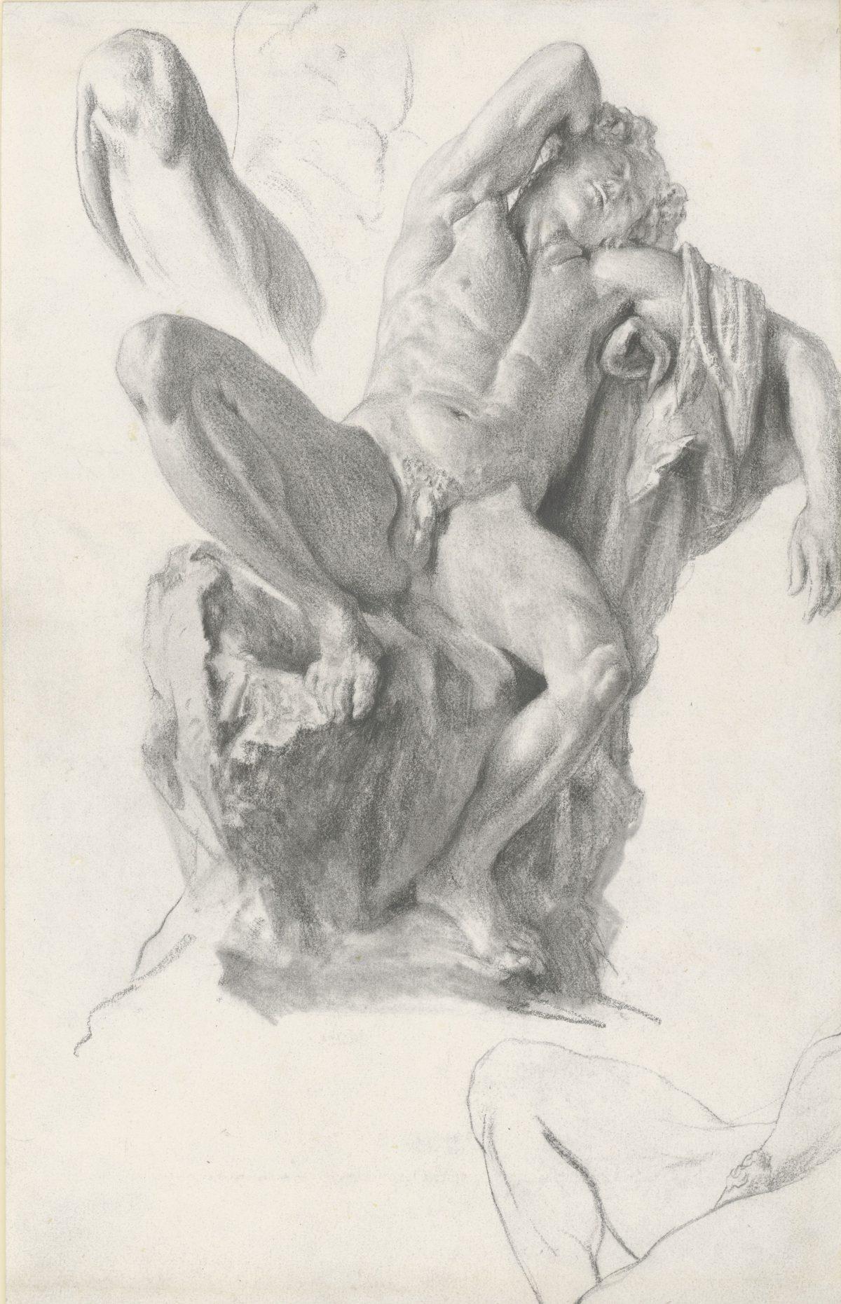 Adolph von Menzel, Der Barberinische Faun, 1874, Bleistift, 400 x 250 mm Blattmaß © Staatliche Graphische Sammlung München