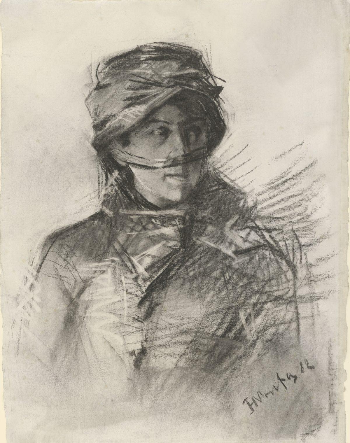 Henri de Toulouse-Lautrec, Portrait der Comtesse Émilie de Toulouse-Lautrec, 1882, Kohle, 630 x 478 mm Blattmaß © Staatliche Graphische Sammlung München