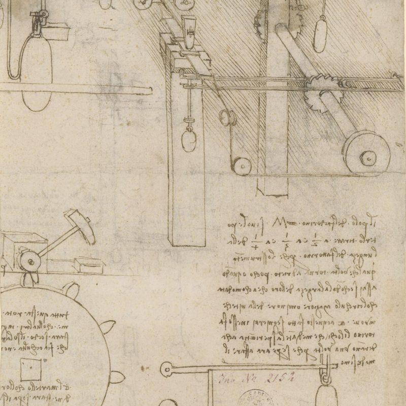Leonardo da Vinci (Vinci bei Empoli 1452 – 1519 Schloss Cloux bei Amboise) Mechanismus zur Goldbearbeitung, vor 1495 Feder in Braun, 190 x 165 mm © Staatliche Graphische Sammlung München