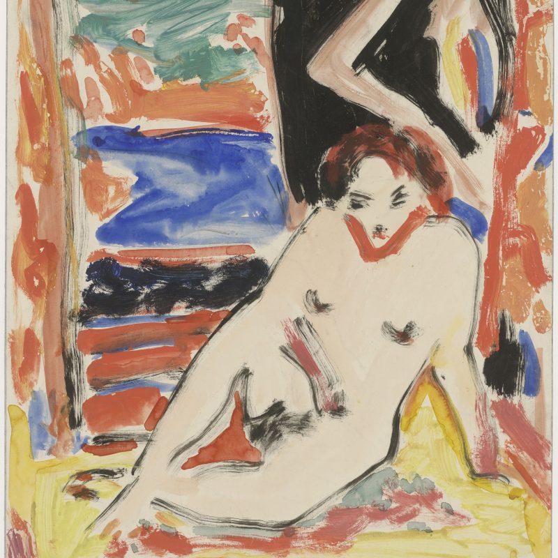 Ernst Ludwig Kirchner, 1880 – 1938 recto: Mädchenakt im Interieur (Fränzi?), um 1910 Aquarell und Deckfarben, 450 x 350 mm Inv.-Nr. 1978:1 Z © Staatliche Graphische Sammlung München