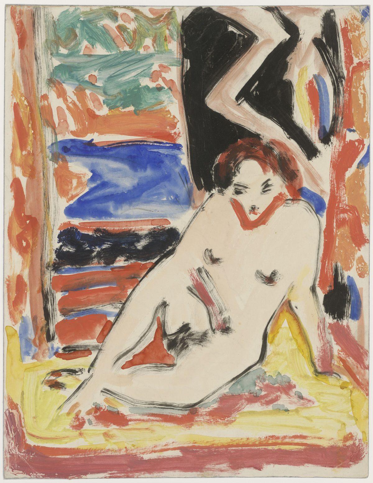 Ernst Ludwig Kirchner, recto: Mädchenakt im Interieur (Fränzi?), um 1910, Aquarell und Deckfarben, 450 x 350 mm © Staatliche Graphische Sammlung München