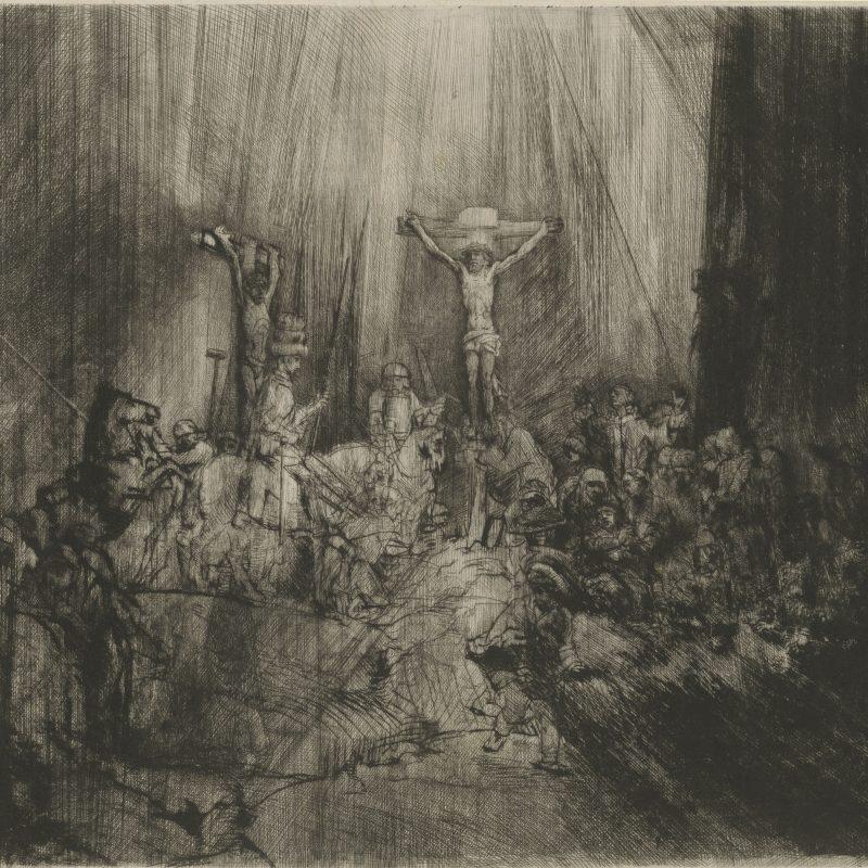 Rembrandt Harmensz. van Rijn (1606 – 1669) Die drei Kreuze (Christus am Kreuz zwischen den beiden Schächern), 1653 Kaltnadel, 384 x 448 mm © Staatliche Graphische Sammlung München