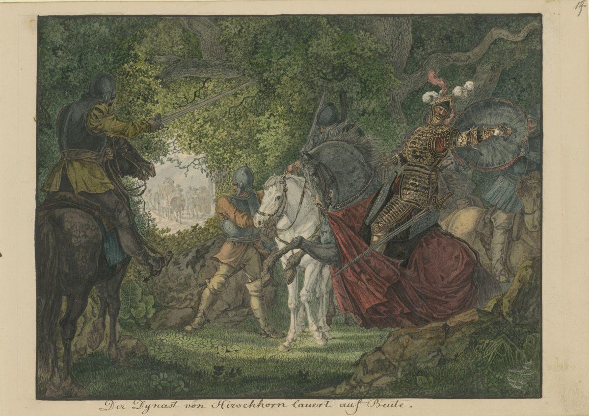 Carl Philipp Fohr, Der Dynast von Hirschorn lauert auf Beute, 1813 - 1814, Bleistift, Aquarell, 181 x 239 mm Blattmaß © Staatliche Graphische Sammlung München