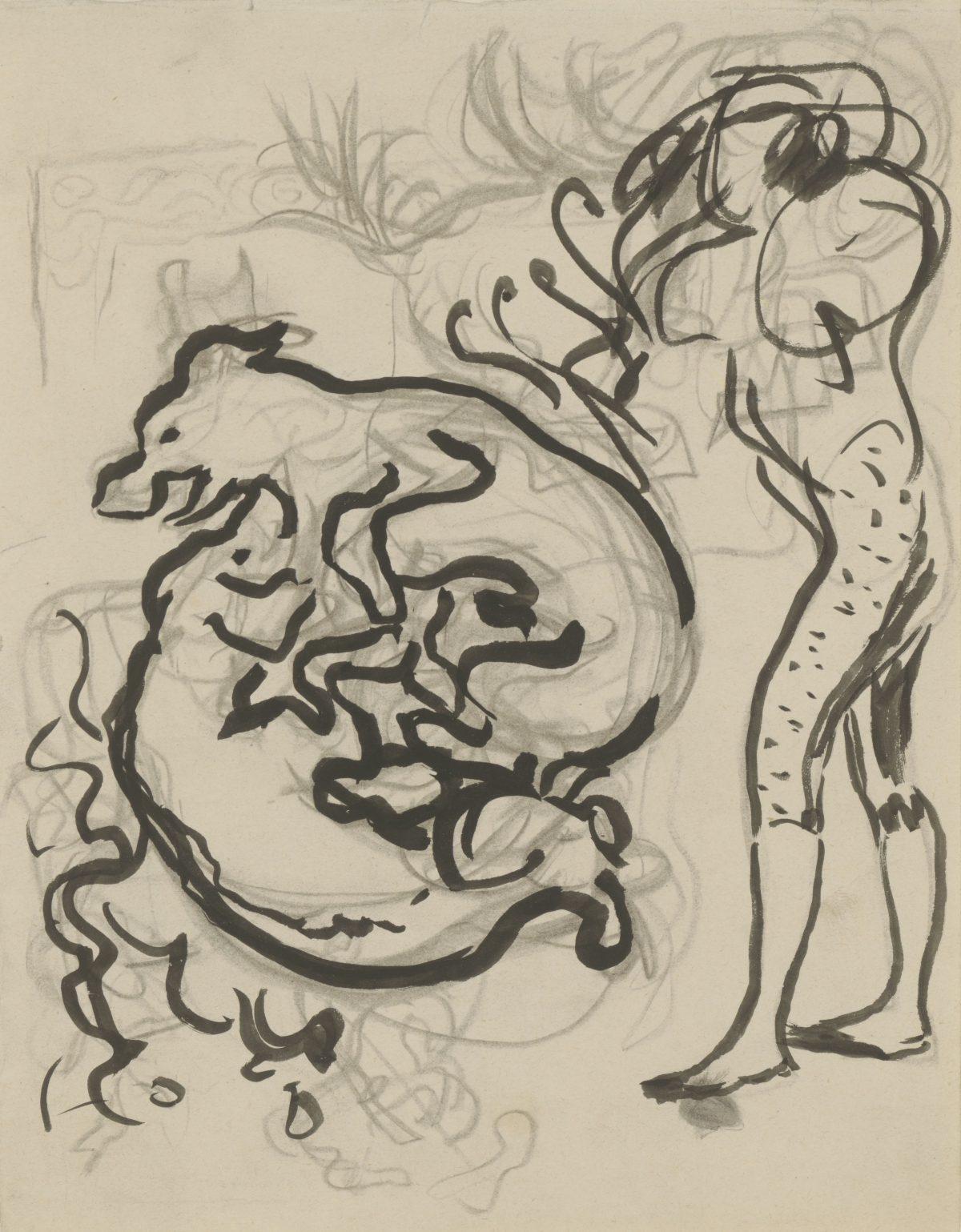Pierre Bonnard, recto: Spielende Hunde und Figur; verso: Fragment einer Skizze, um 1891, Bleistift, Pinsel in Schwarz, 234 x 190 mm (unregelmäßig) Blattmaß © Staatliche Graphische Sammlung München