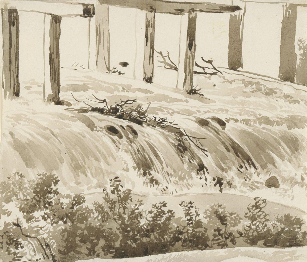 Franz Kobell, Kleiner Wasserfall mit Buschwerk im Vordergrund, zwischen 1800–1817, Pinsel in Braun, 181 x 211 mm Blattmaß © Staatliche Graphische Sammlung München