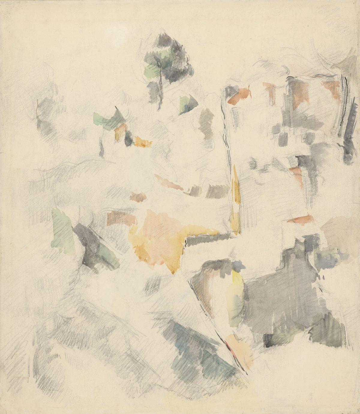 Paul Cézanne (Cezanne), Steilhang mit Pinie (Felsen von Bibémus), 1895 - 1898, Aquarell über Bleistift, 475 x 415 mm Blattmaß © Staatliche Graphische Sammlung München