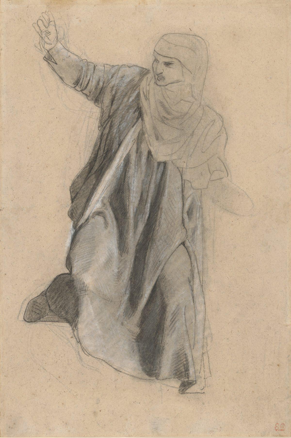 """Eugène Delacroix, Studie zu """"Die Dantebarke"""", 1821 - 1822, Bleistift und Kreide, 407 x 274 mm Blattmaß © Staatliche Graphische Sammlung München"""