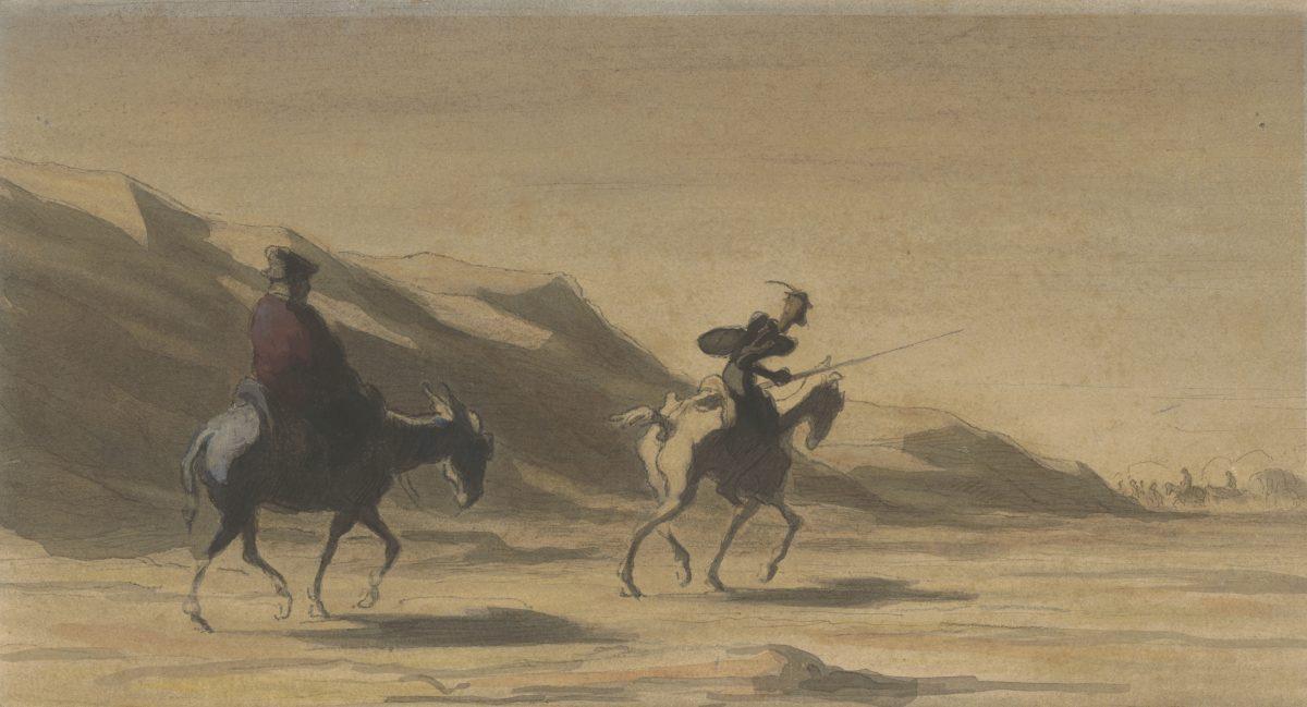 Honoré Daumier, Don Quijote und Sancho Panza, um 1878, Aquarell, Bleistift, Conté-Kreide (am Rand Pinsel-, Kreide- und Federproben), 202 x 281 mm Blattmaß © Staatliche Graphische Sammlung München