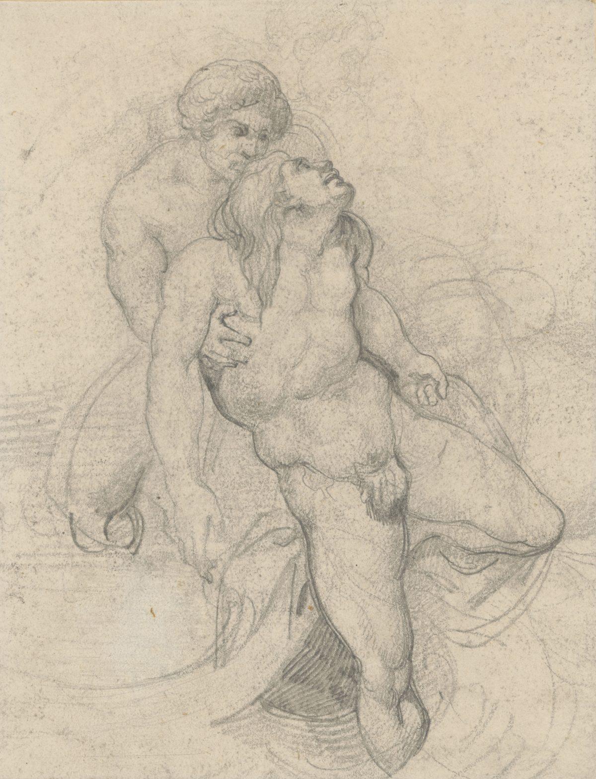 """Théodore Géricault, Studie zu """"Das Floß der Medusa"""", 1818, Bleistift, 231 x 179 mm Blattmaß © Staatliche Graphische Sammlung München"""