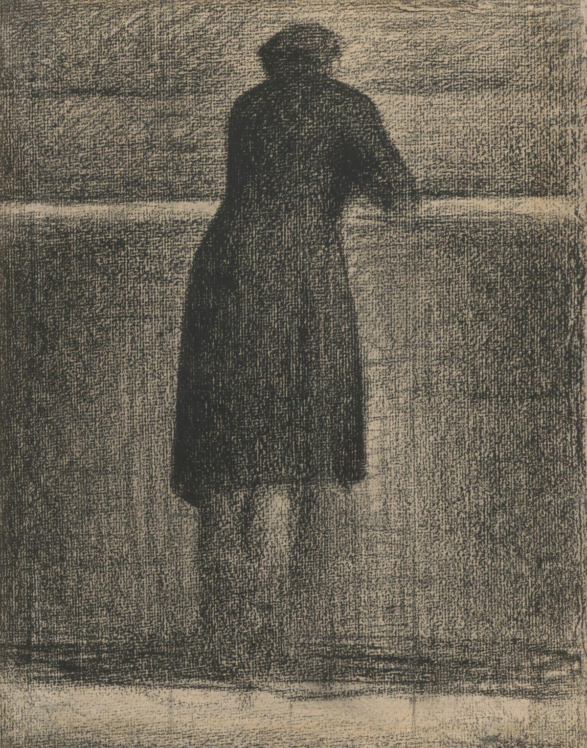 Georges Seurat, Mann an der Seine-Brüstung vor dem Invalidendom, 1880 - 1881, Conté-Kreide, 310 x 240 mm Blattmaß © Staatliche Graphische Sammlung München