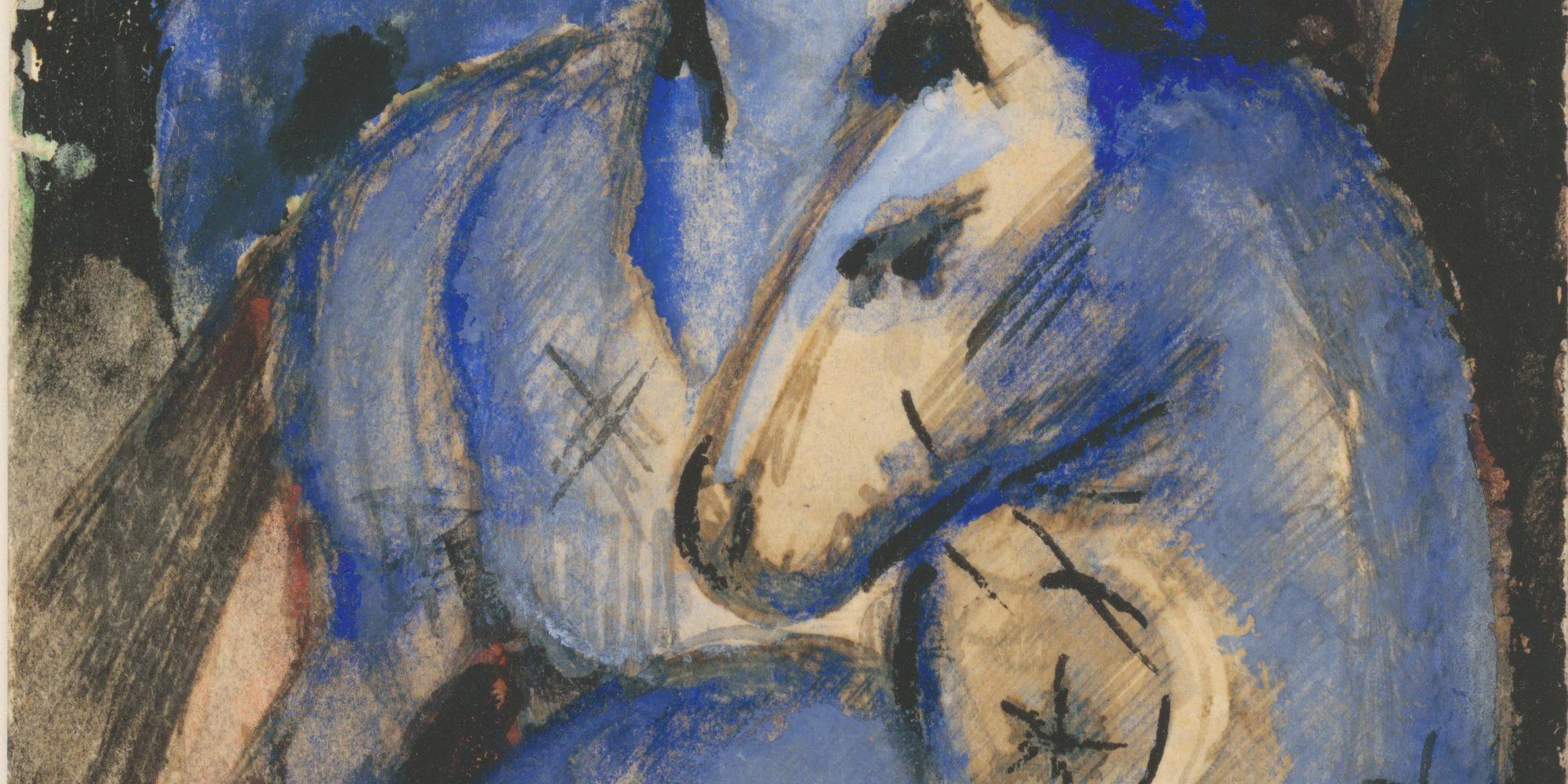 Franz Marc, Der Turm der blauen Pferde, 1912, Vorzeichnung für das Gemälde von 1913, Tusche und Gouache auf Karton, 143 x 94 mm, Bayerische Staatsgemäldesammlungen, Schenkung Fohn, Depositum Staatliche Graphische Sammlung München © Staatliche Graphische Sammlung München