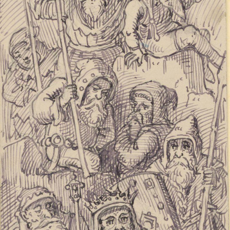Franz von Pocci, Zwergkönig mit Gefolge  Feder in Grau, 242 x 78 mm Staatliche Graphische Sammlung München © Staatliche Graphische Sammlung München