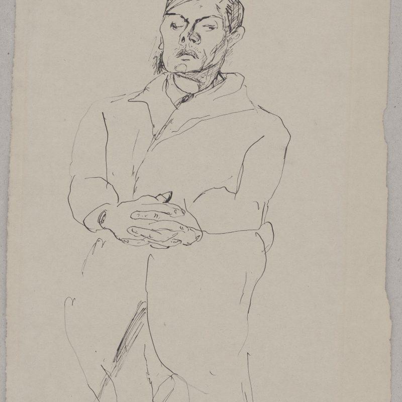 Max Beckmann, 1884 – 1950, Selbstporträt, Sitzfigur mit gefalteten Händen, 1917, Feder in Schwarz, 322 x 250 mm, Inv.-Nr. L 2414, Dauerleihgabe der Ernst von Siemens-Kunststiftung, München