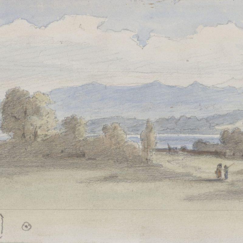 Franz von Pocci, Ammerland, 1871  Bleistift, Aquarell, 92 x 164 mm Staatliche Graphische Sammlung München © Staatliche Graphische Sammlung München