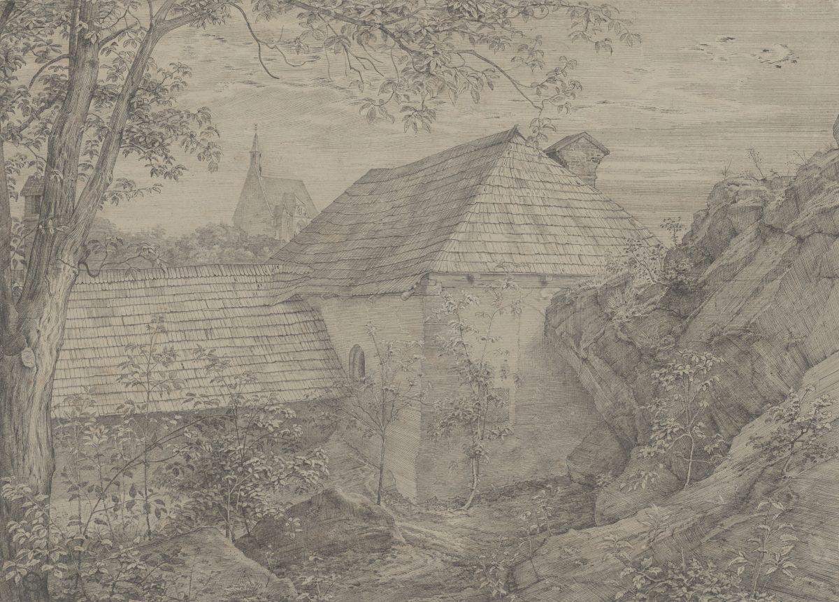 Ferdinand Olivier, Gehöftwinkel in Mödling, im Hintergrund die Spitalkirche, 1823, Feder in Schwarz, 327 x 453 mm Blattmaß © Staatliche Graphische Sammlung München