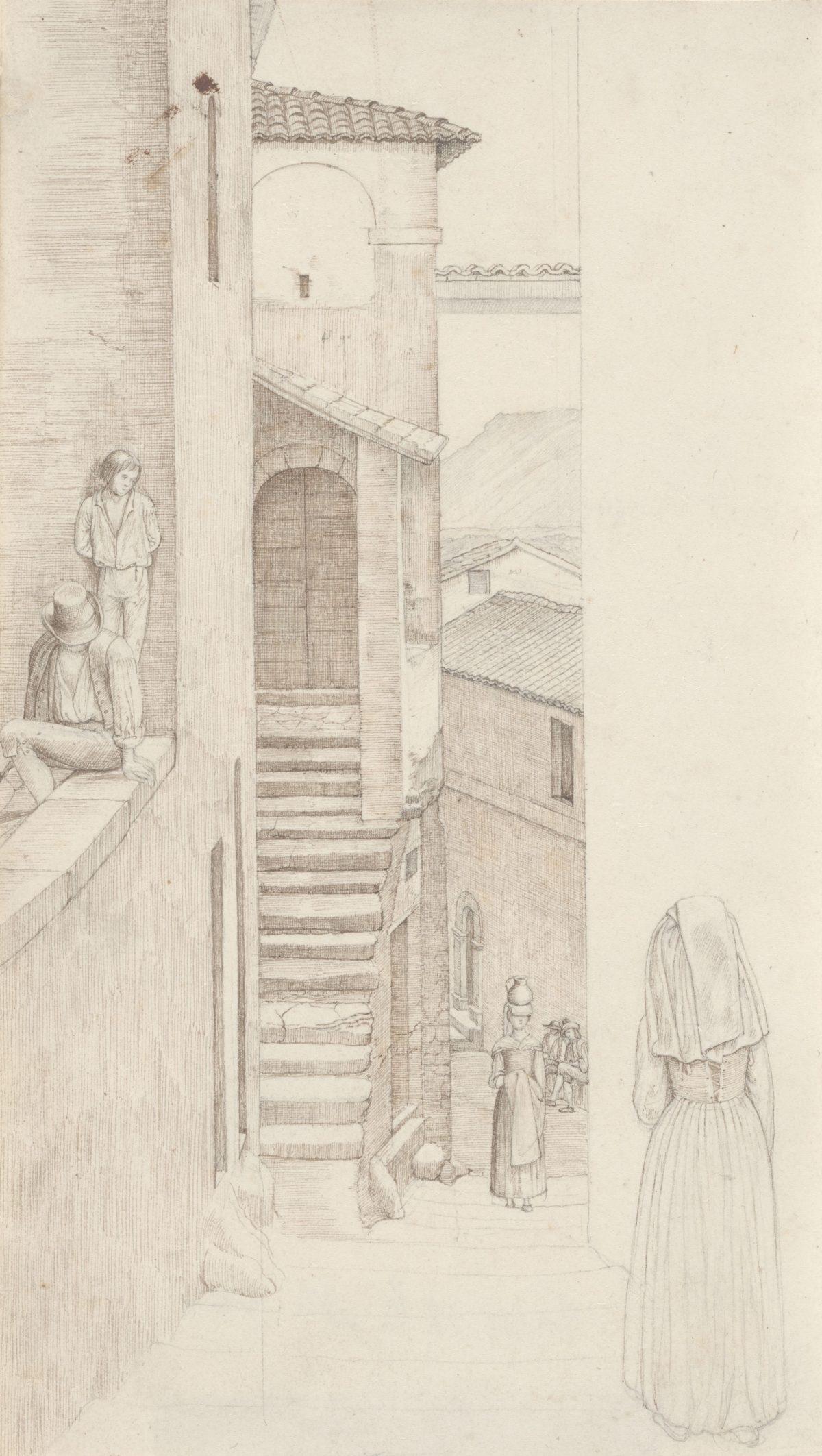 Friedrich Olivier, Straße in Olevano, 1819, Feder in Braun über Bleistift, 216 x 125 mm Blattmaß © Staatliche Graphische Sammlung München