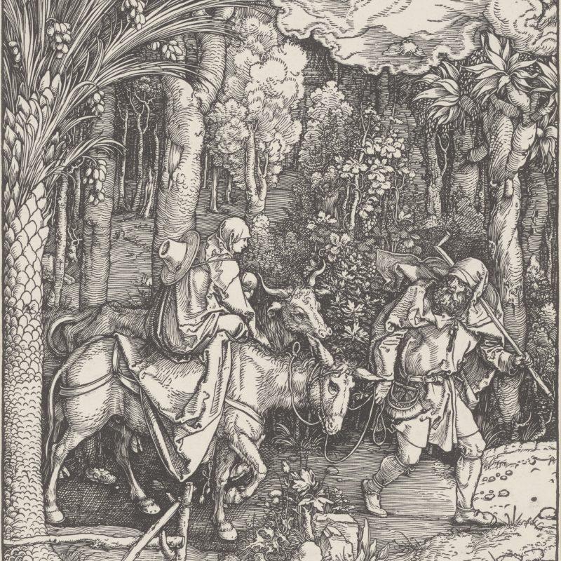 """Albrecht Dürer (1471–1528) Die Flucht nach Ägypten, Blatt 14 aus dem """"Marienleben"""", Ausgabe vor 1511 ohne Text, Holzschnitt, 298 x 201 mm © Staatliche Graphische Sammlung München"""