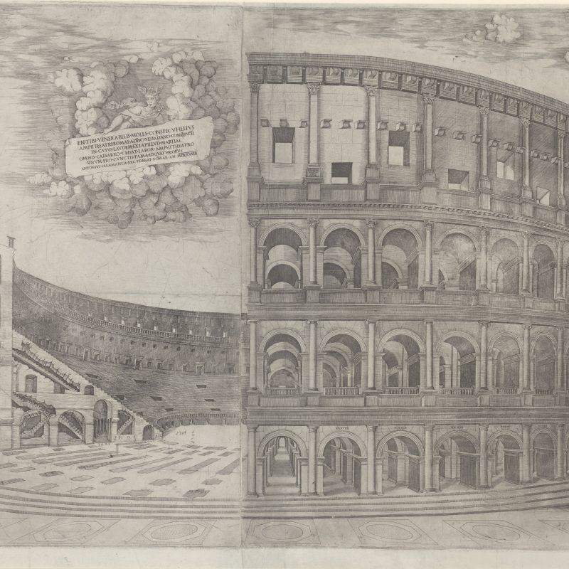 Antonio Salamanca (Salamanca 1479 – 1562 Rom) Ansicht und Schnitt des Kolosseums in Rom, 1538 Kupferstich, 550 x 870 mm © Staatliche Graphische Sammlung München