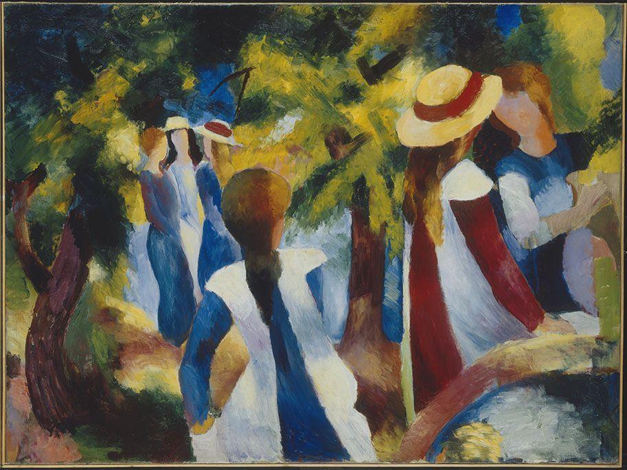 August Macke, Mädchen unter Bäumen, 1914