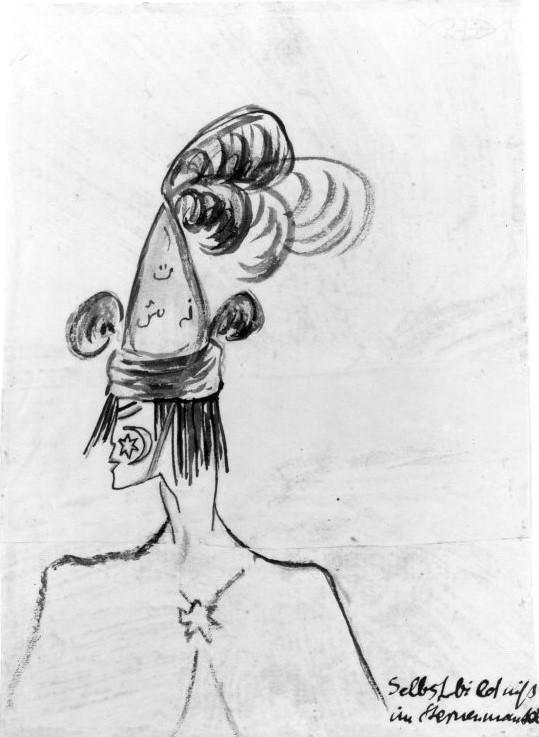 Else Lasker-Schüler, Selbstbildnis im Sternenmantel, vor 1919, Papier, Tusche, Farbst., 15,5 x 11,5 cm, Schenkung von Sofie und Emanuel Fohn