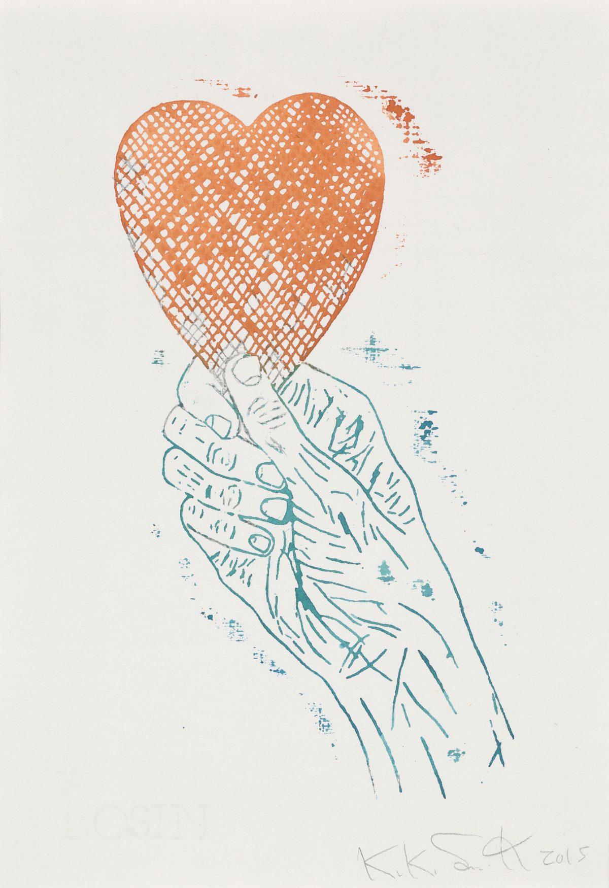 Kiki Smith, Heart in Hand, 2015, Monoprint; Aquarell und Bleistift auf Losin Prague-Papier, 296 x 205 mm, Staatliche Graphische Sammlung München, Schenkung der Künstlerin © Kiki Smith, courtesy Pace Gallery