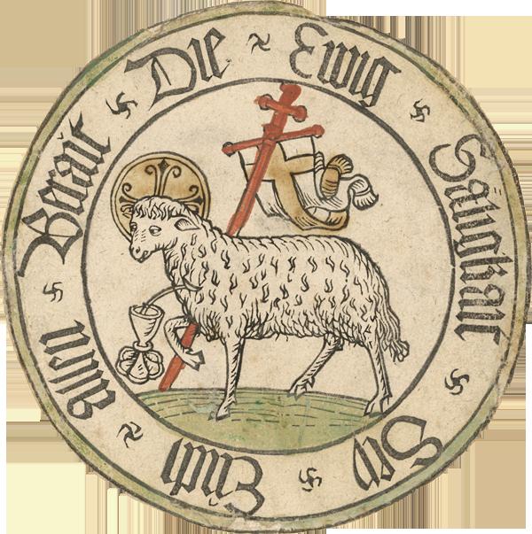 Das Lamm Gottes, Unbekannt Deutschland 15. Jh., 1470 - 1480, Holzschnitt, koloriert, 146 mm (Blatt), Inv.-Nr. 1962:767 D, Foto: © Staatliche Graphische Sammlung München
