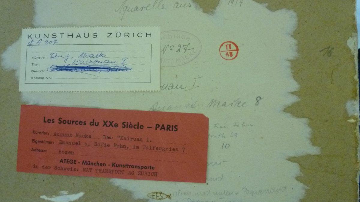 August Macke, Kairouan I, 1914, Rückseite des Aquarells mit Provenienzhinweisen © Bayerische Staatsgemäldesammlungen