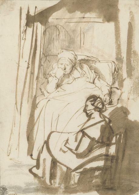 Rembrandt, Woman in Bed (Saskia?) with a Wet Nurse, around 1638 Pen-and-ink and brush drawing in brown, brown wash, 227 x 164 mm © Staatliche Graphische Sammlung München