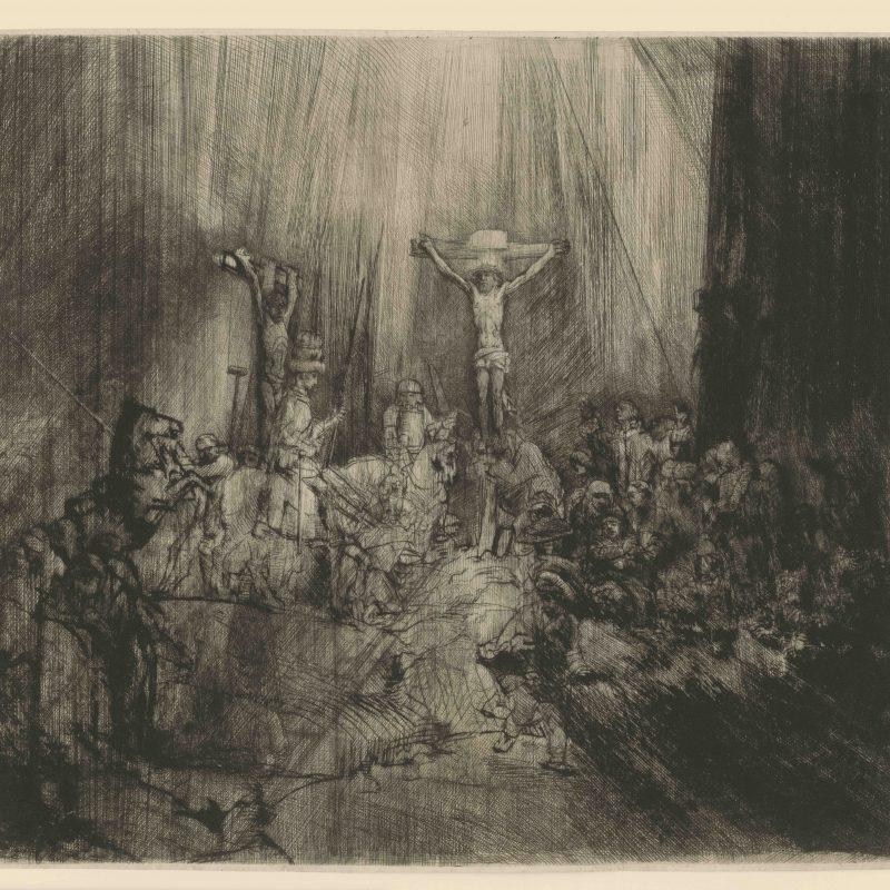 Rembrandt van Rijn, Die Drei Kreuze (Christus am Kreuz zwischen den beiden Schächern), 1653, Kaltnadel, 384 x 448 mm, Inv.-Nr. 1964:460 D (Schenkung Max Kade Foundation), NHD 239, II. Zustand von IV © Staatliche Graphische Sammlung München