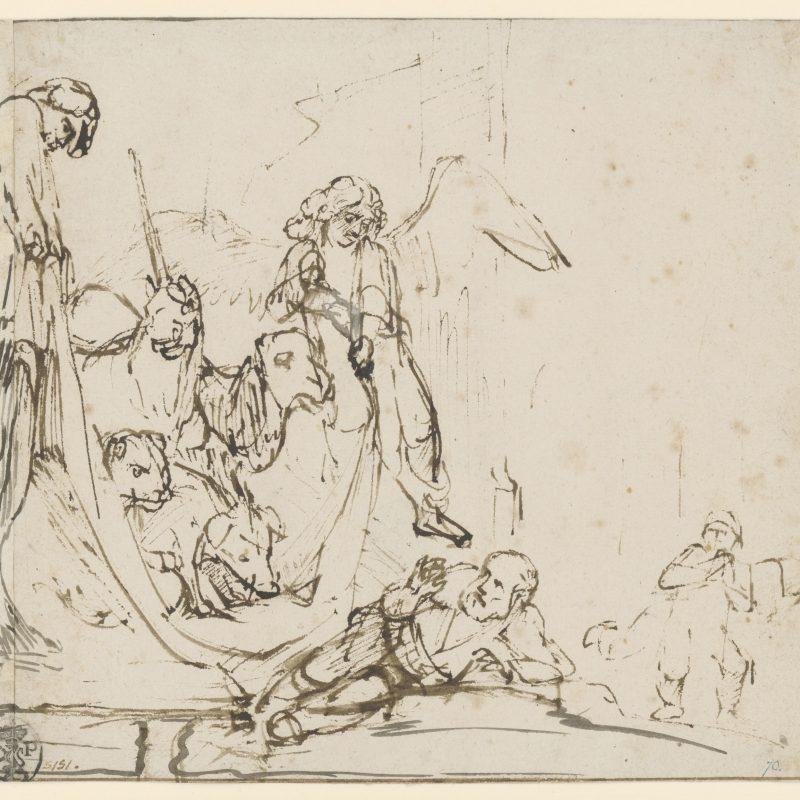 Rembrandt van Rijn, Die Vision des hl. Petrus, um 1650–1655, Feder in Braun, Deckweiß, 179 x 193 mm, Inv.-Nr. 1392 Z © Staatliche Graphische Sammlung München