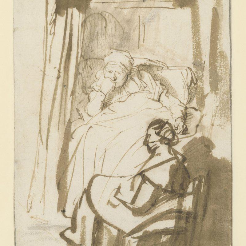 Rembrandt van Rijn, Frau im Bett (Saskia?) mit einer Magd oder Amme, um 1638, Feder und Pinsel in Braun, laviert, 227 x 164 mm, Inv.-Nr. 1402 Z © Staatliche Graphische Sammlung München