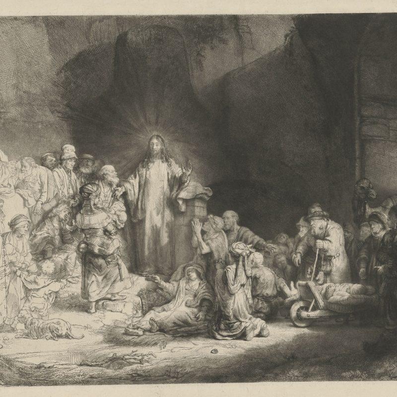 Rembrandt van Rijn, Hundertguldenblat (Der predigende Christus), um 1648, Radierung, Kaltnadel, Grabstichel (auf Japanpapier), 280 x 392 mm, Inv.-Nr. 1964:460 D (Schenkung Max Kade Foundation), NHD 239, II. Zustand von IV, © Staatliche Graphische Sammlung München