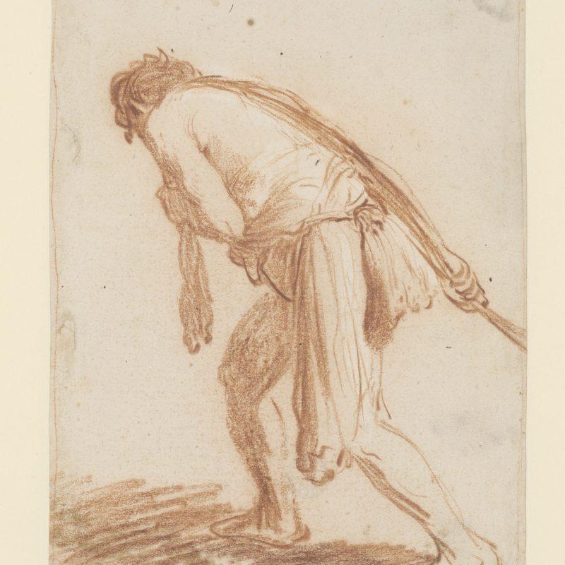 Rembrandt van Rijn, Mann, etwas hinter sich herziehend, um 1627, Rote Kreide, Weißhöhungen, 273 x 176 mm, Inv.-Nr. 1739 Z © Staatliche Graphische Sammlung München