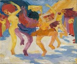 Emil Nolde, Tanz um das goldene Kalb (Dance Around the Golden Calf), 1910, 87,5 x 105 cm; Bavarian State Painting - Collections Sammlung Moderne Kunst in the Pinakothek der Moderne Munich Photo: Bavarian State Painting Collections, Sibylle Forster © Stiftung Seebüll Ada und Emil Nolde