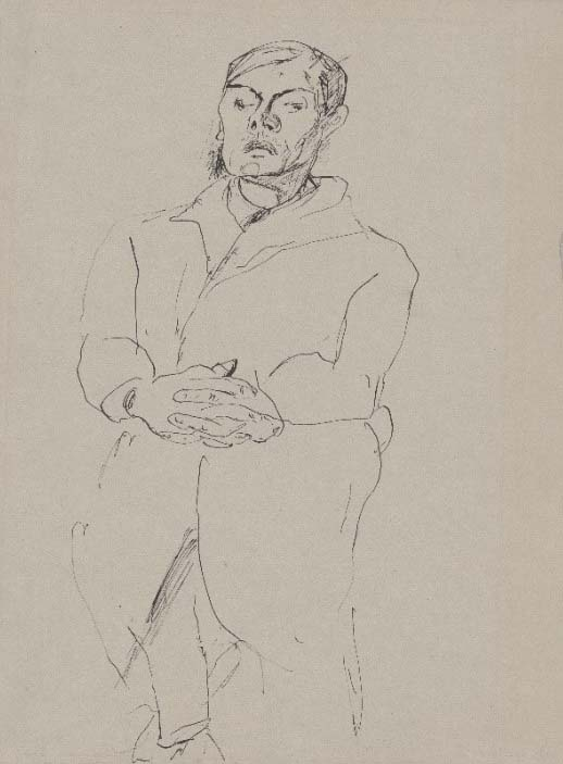 Max Beckmann, Self-portrait, seated with folded hands [recto], 1917, pen and black ink 317 x 239 mm Staatliche Graphische Sammlung München acquired in 2017 with the support of the Ernst von Siemens Kunststiftung, Munich Photo: Staatliche Graphische Sammlung München © VG Bild-Kunst, Bonn 2020